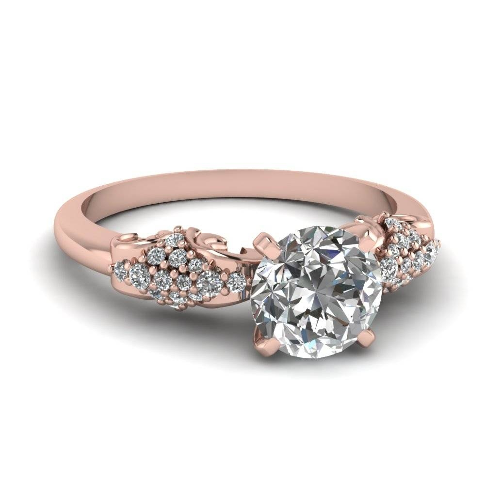 Buy Classy 14K Rose Gold Side Stone Engagement Rings | Fascinating For Gold Rose Wedding Rings (View 4 of 15)