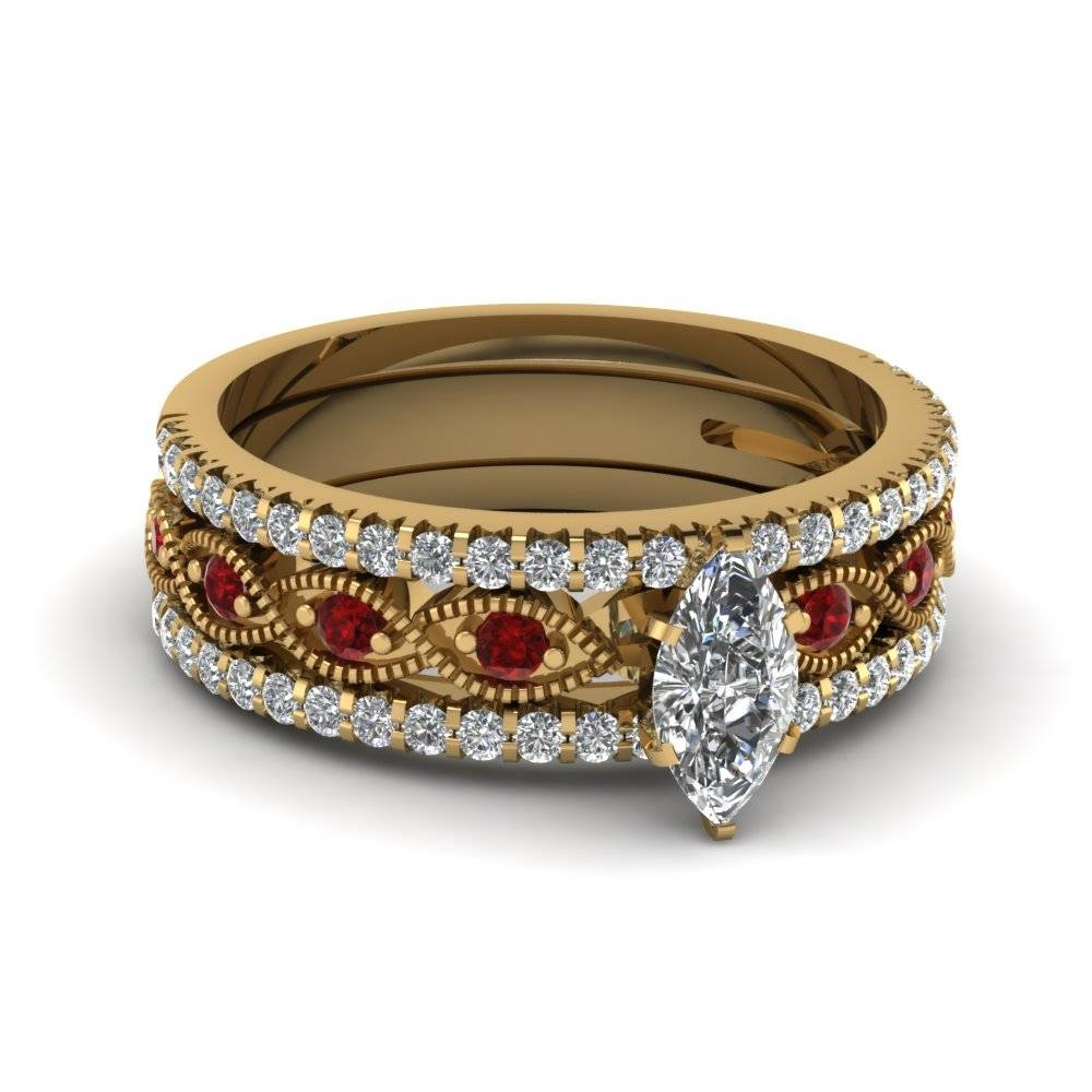 Buy Our Ruby Trio Wedding Ring Sets At Affordable Price Throughout Flat Engagement Ring Settings (View 14 of 15)