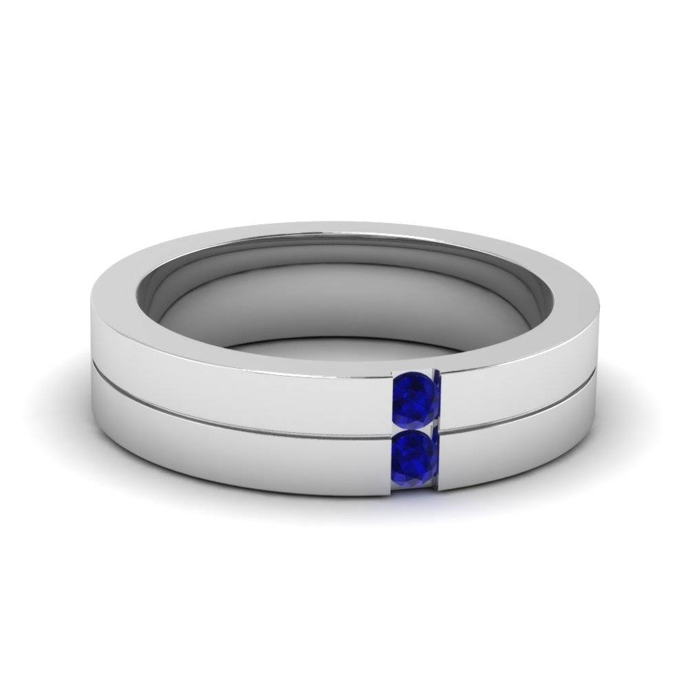 Buy Sapphire Mens Wedding Bands | Fascinating Diamonds In Blue Sapphire Men's Wedding Bands (View 2 of 15)