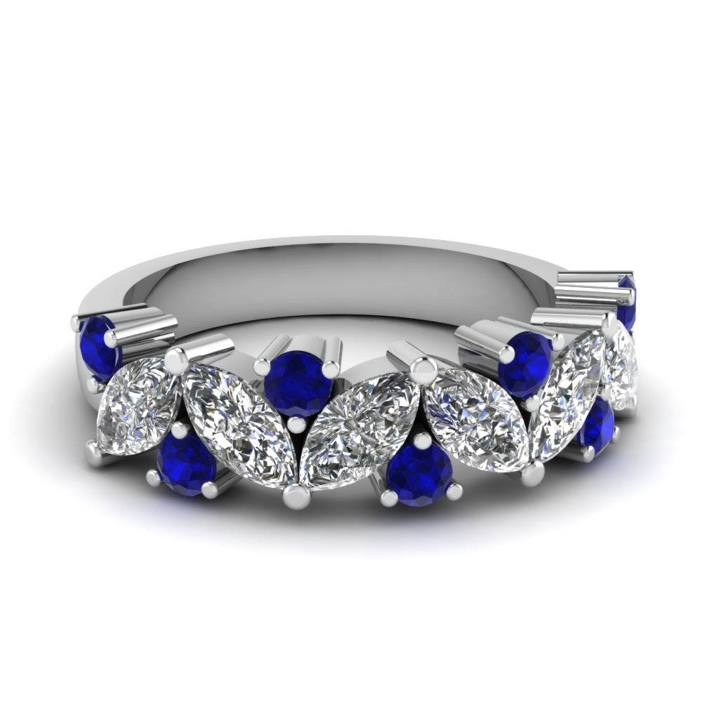 Buy Stunning Sapphire Wedding Bands For Women | Fascinating Diamonds Within Sapphire Engagement Rings With Wedding Band (View 5 of 15)