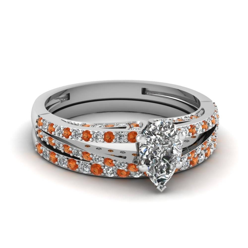 Buy Unique Orange Sapphire Wedding Ring Sets |Fascinating Diamonds With Regard To Flashy Wedding Rings (View 4 of 15)