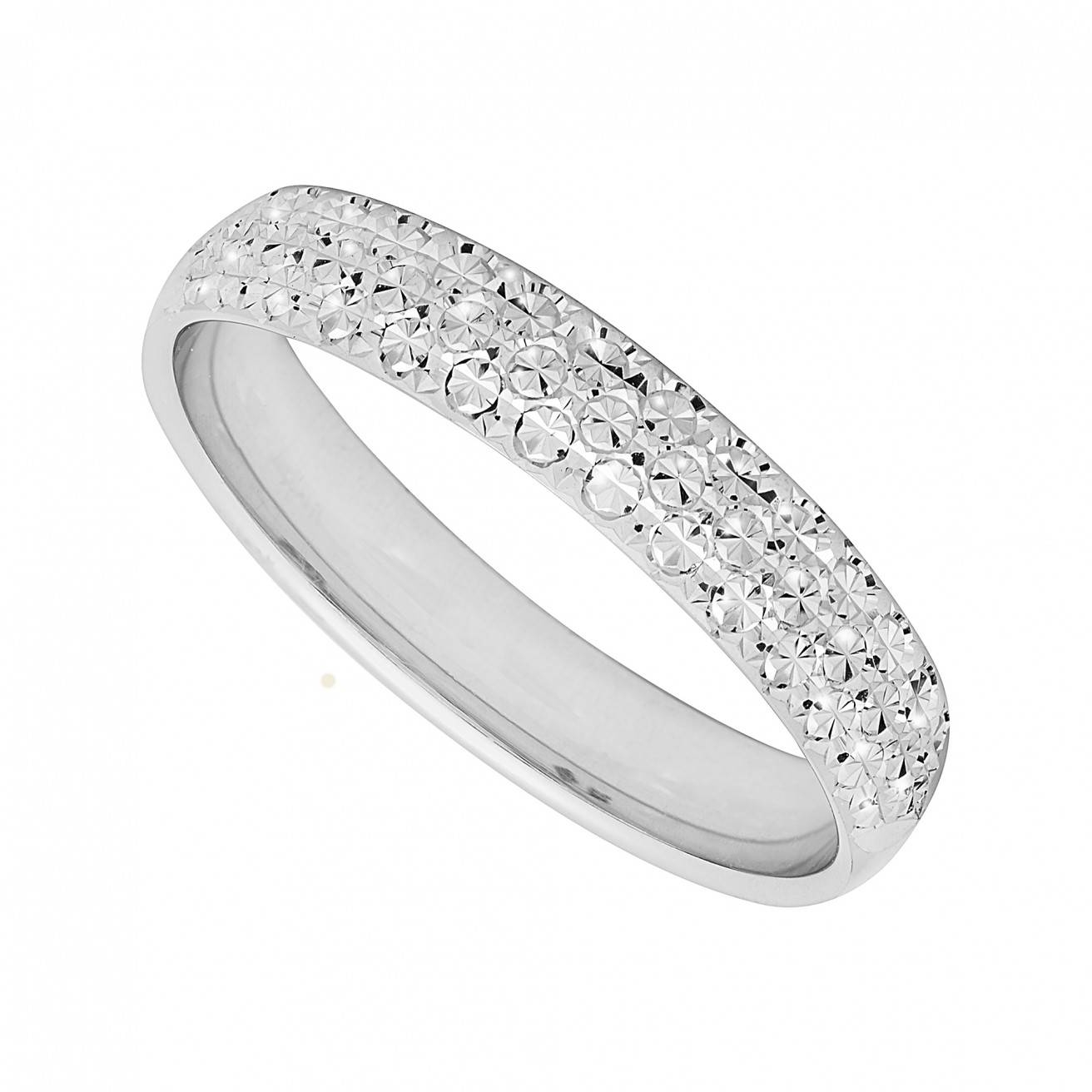 Featured Photo of White Gold Diamond Cut Wedding Rings