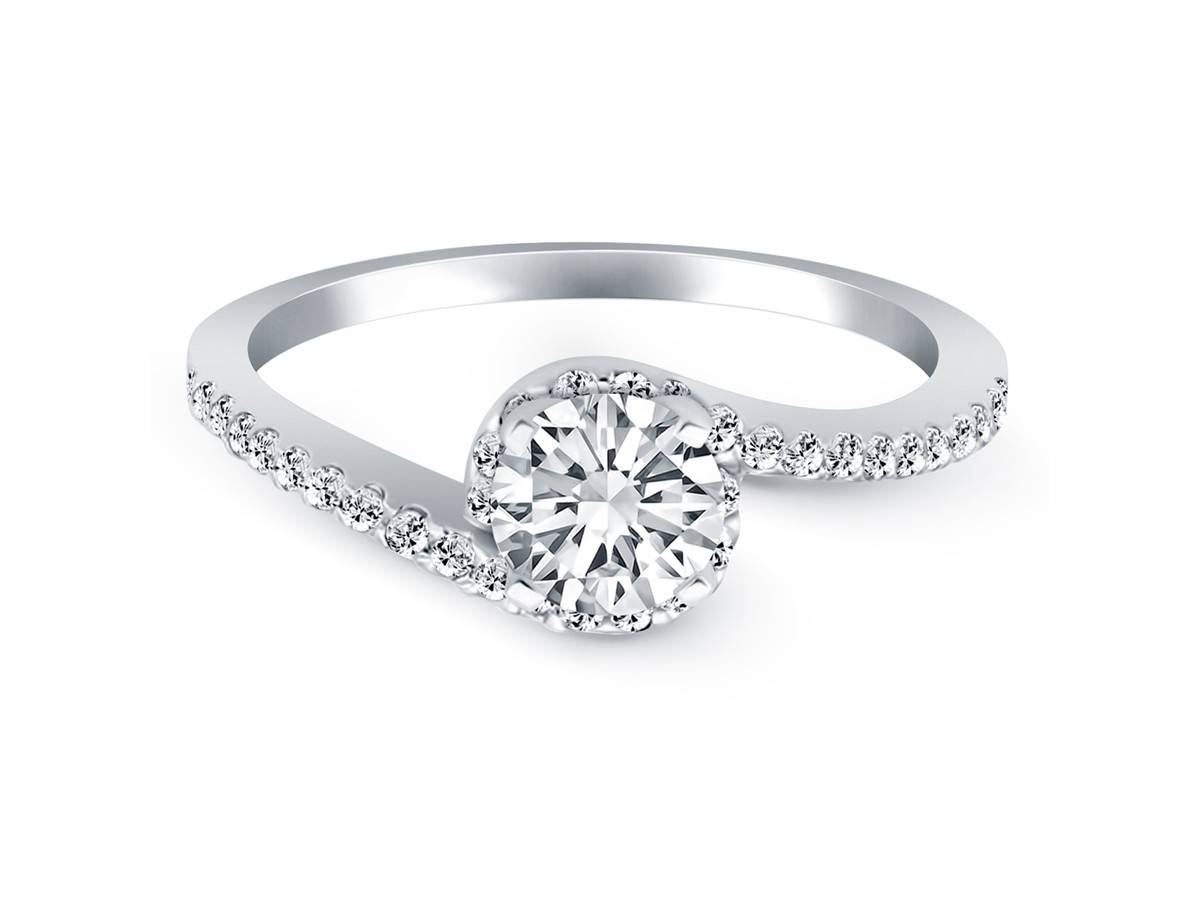Bypass Swirl Diamond Halo Engagement Ring In 14K White Gold For Wrap Around Engagement Rings (View 4 of 15)