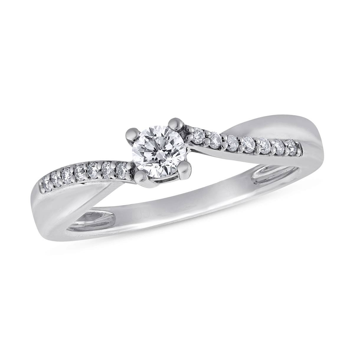 Calista, 1/3 Ctw Round Cut Diamond Engagement Ring In 14k White Intended For White Gold Engagement Rings (View 12 of 15)