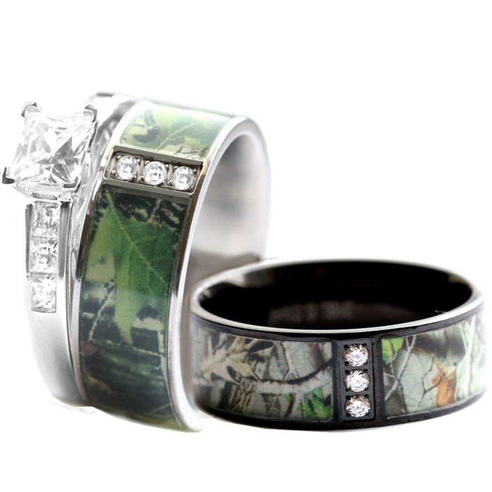 Camo Wedding Ring Set For Him And Her Stainless Steel Within Camo Wedding Bands For Her (View 4 of 15)
