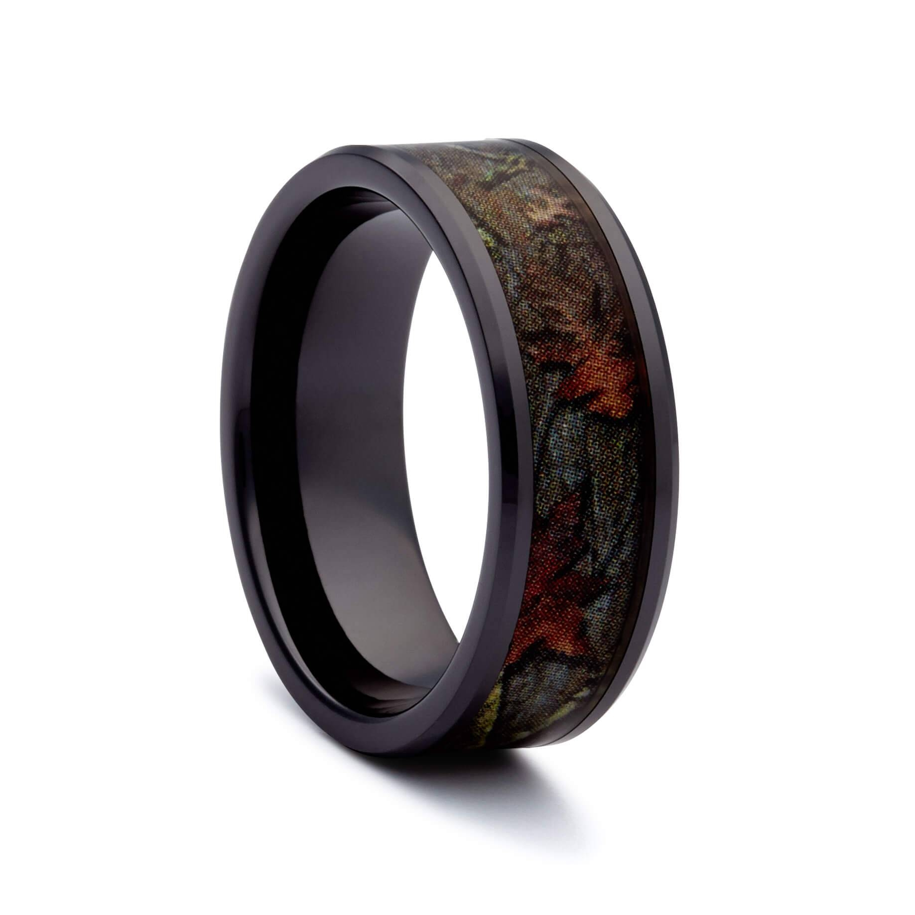 Camo Wedding Rings – Black Ceramic Ring – Camouflage Band For Ceramic Wedding Bands (View 2 of 15)