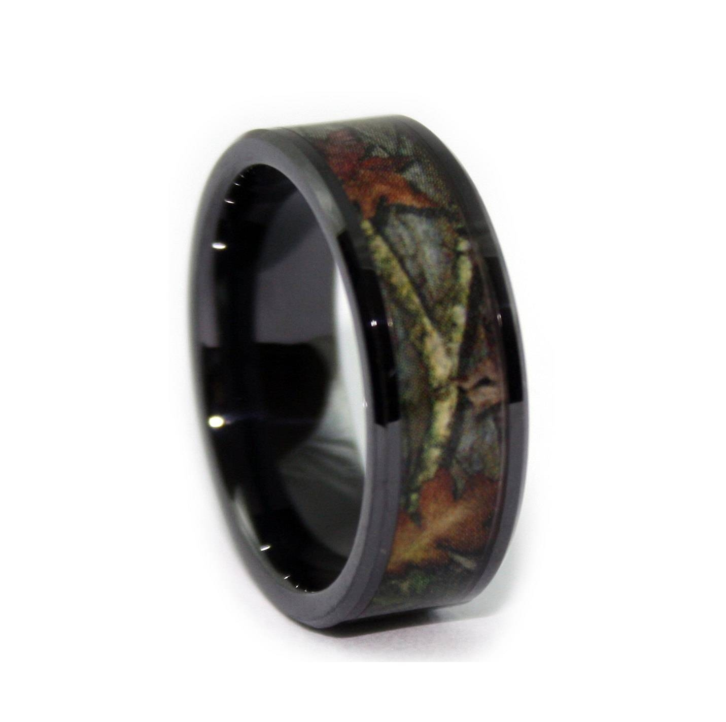 Camo Wedding Ringsone Camo Flat Titanium Mens Wedding In Men's Hunting Wedding Bands (View 7 of 15)