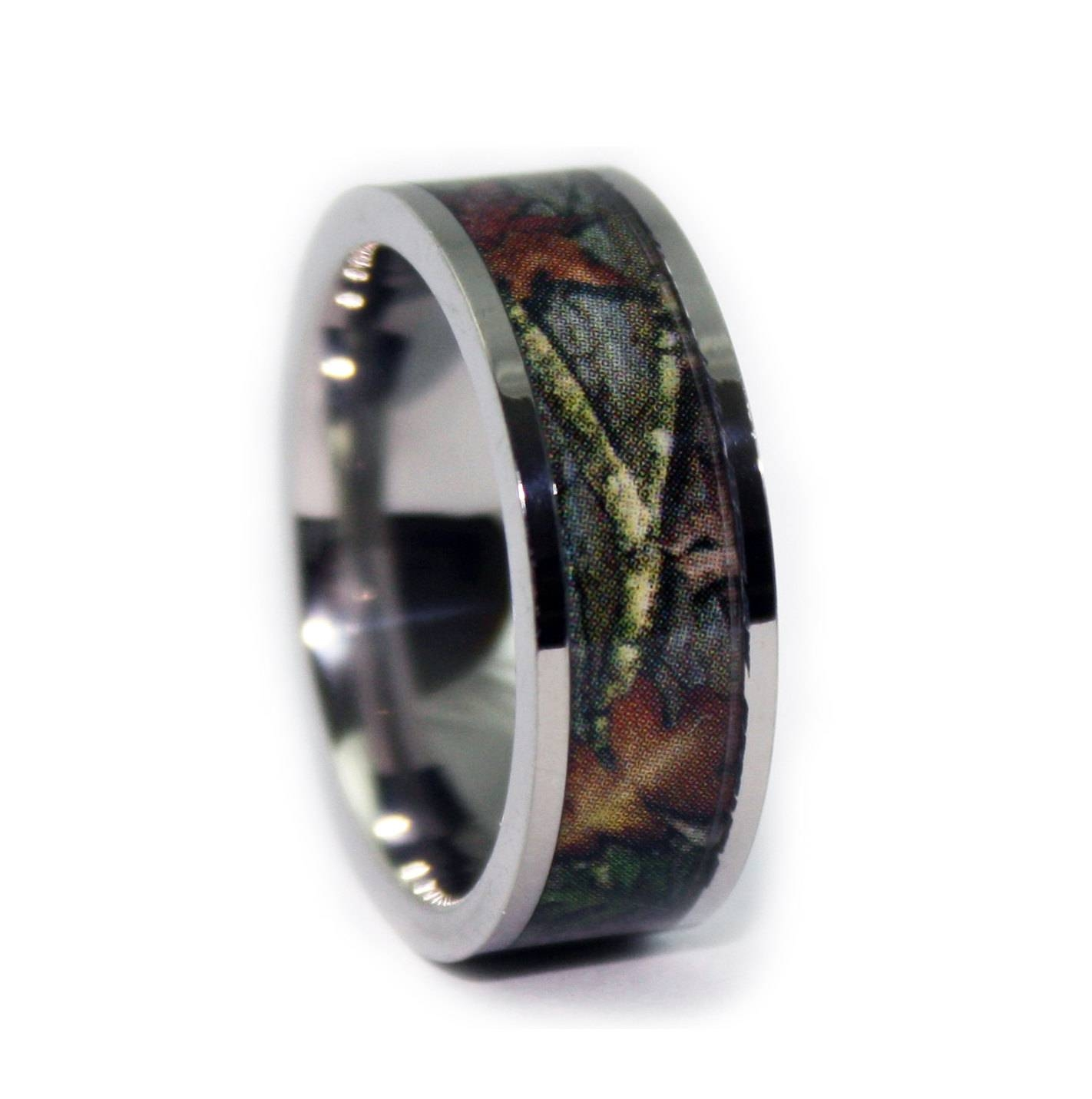 Camo Wedding Ringsone Camo Flat Titanium Mens Wedding Regarding Men's Outdoor Wedding Bands (View 5 of 15)