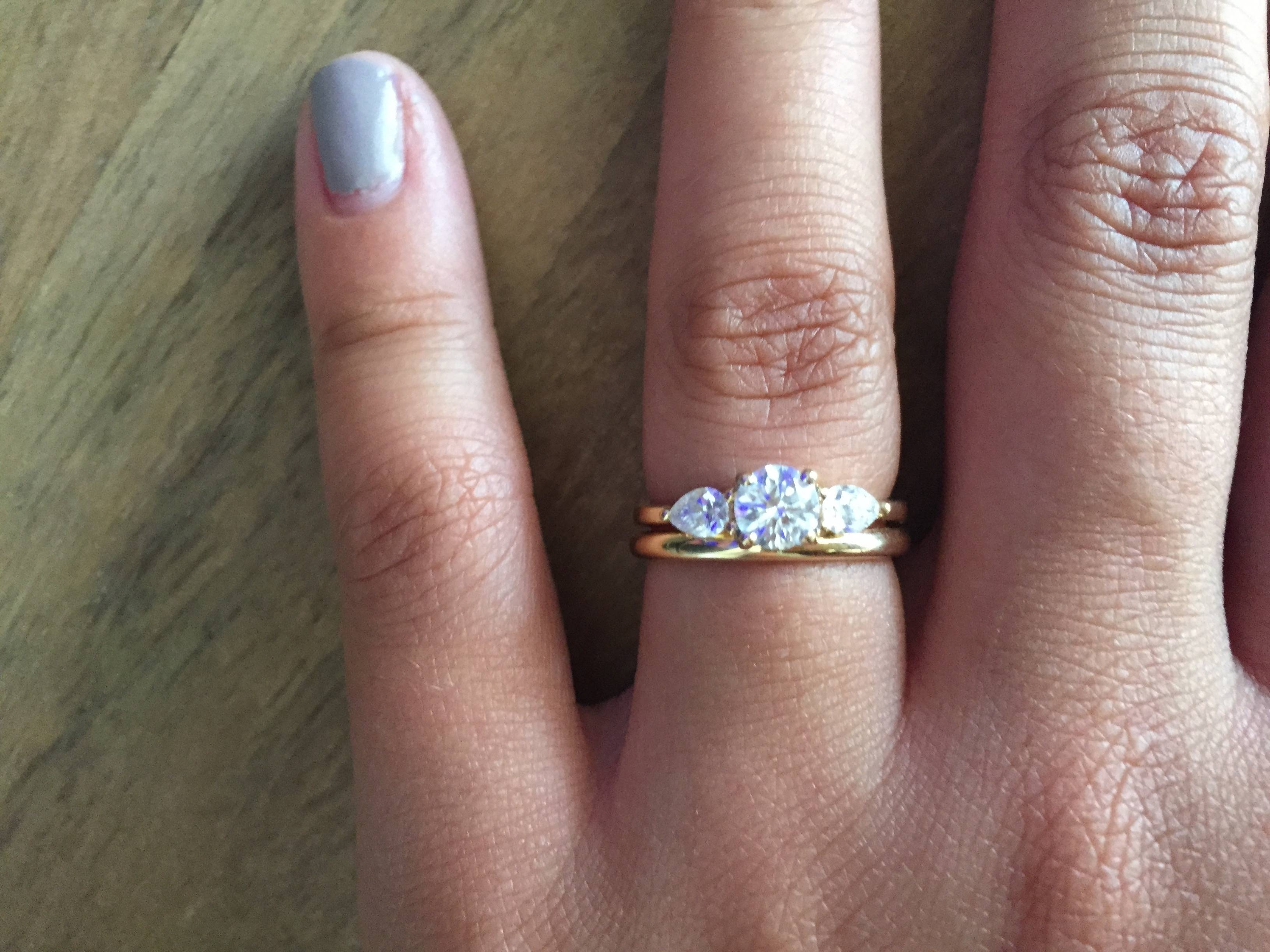 Can I See Your Wedding Band With 3 Stone Engagement Rings For Wedding Bands That Go With Halo Rings (View 12 of 15)