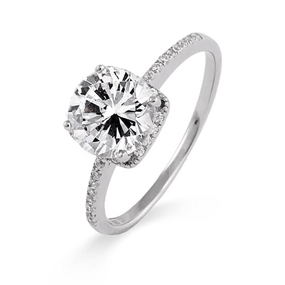 Carat Brilliant Cut Cz Engagement Ring | Eve's Addiction® Throughout Silver Engagement Bands (Gallery 1 of 15)