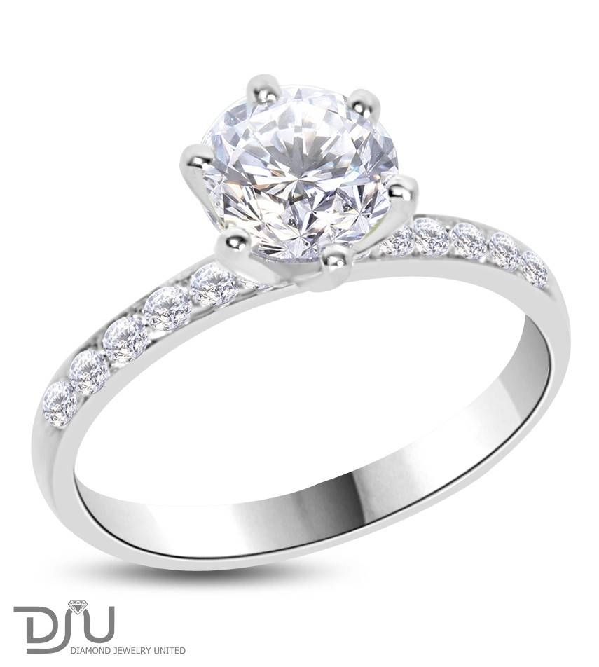 Carat D Vs1 Round Solitaire Diamond Engagement Ring Set In 14 Pertaining To 14 Karat Wedding Rings (View 3 of 15)