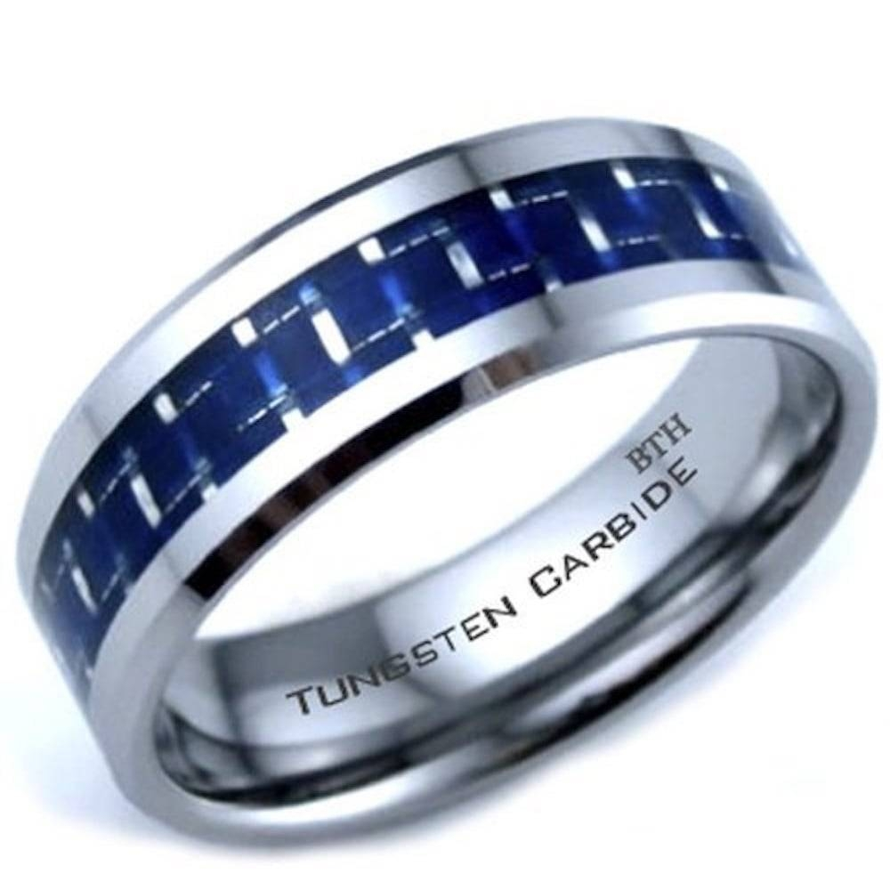 Carbide Blue Carbon Inlay Scratch Proof Mens Wedding Band Ring Regarding Scratch Resistant Wedding Bands (View 3 of 15)