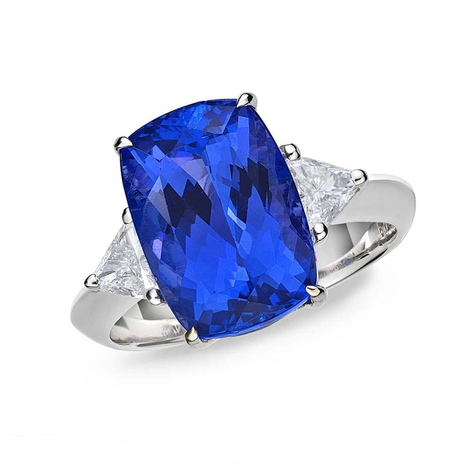 Caroline Cushion Cut Tanzanite Ring With Diamonds | Tanzaniteone Inside Tanzanite Engagement (View 7 of 15)