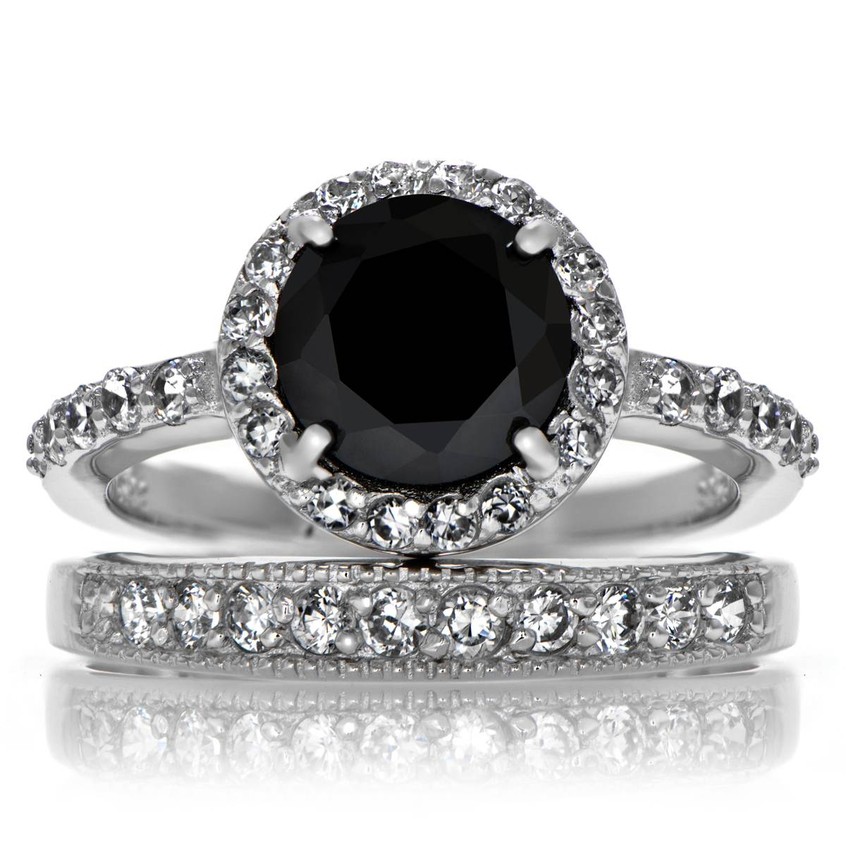 Carrie's Black Cz Ring Set With Regard To Cz Diamond Wedding Rings (Gallery 8 of 15)