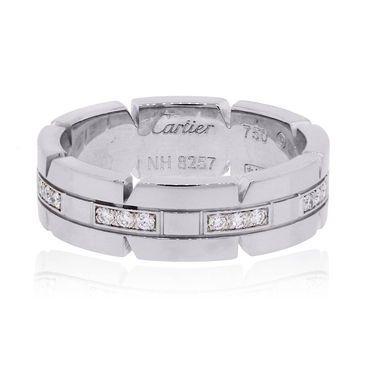 Cartier 18K Tank Francaise Diamond Wedding Band White Gold With Regard To Cartier White Gold Wedding Bands (View 2 of 15)