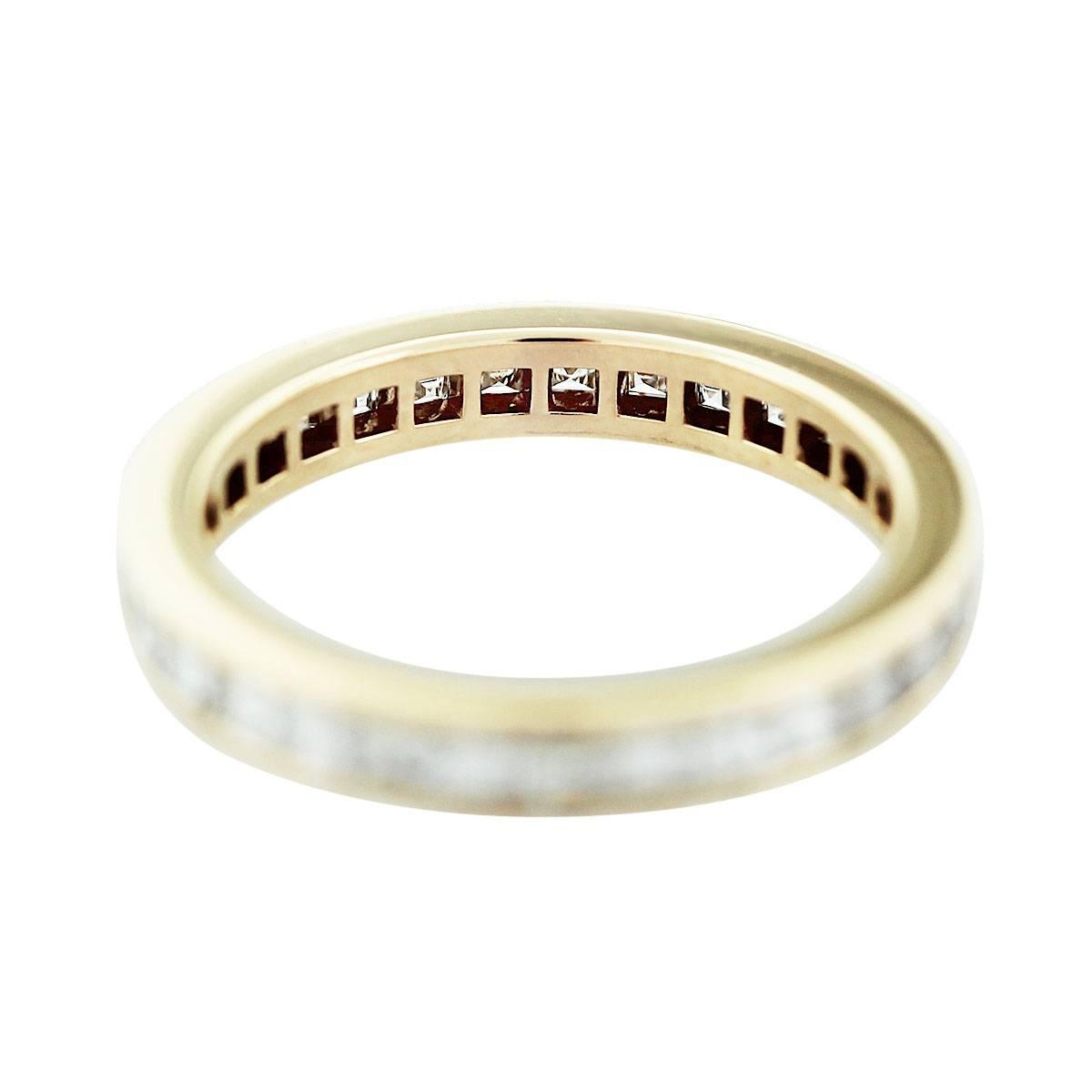 Cartier 18k Yellow Gold Asscher Cut Diamond Wedding Band Throughout Cartier Wedding Bands (View 9 of 15)