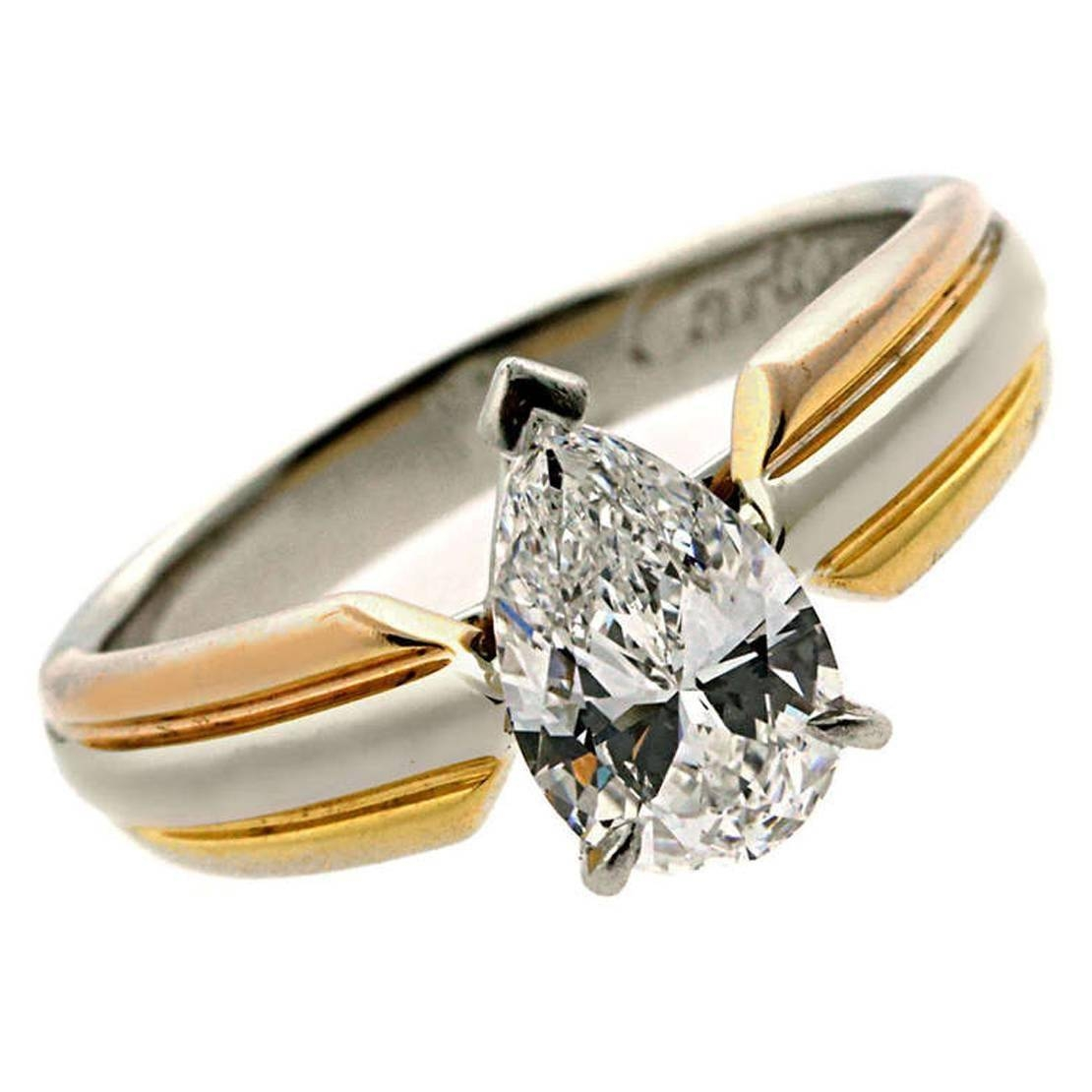 Cartier Pear Shaped Diamond Gold Platinum Engagement Ring At 1Stdibs With Regard To Trinity Diamond Engagement Rings (View 6 of 15)