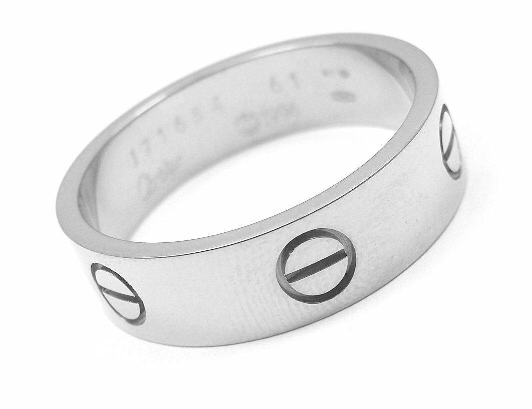 Cartier White Gold Classic Love Mens Wedding Band Ring – Diy Throughout Cartier Wedding Bands (View 15 of 15)