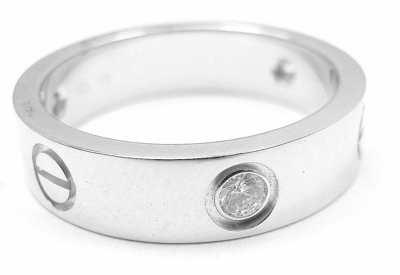 Cartier White Gold Diamond Love Mens Wedding Band Ring – Diy Inside Cartier White Gold Wedding Bands (View 10 of 15)