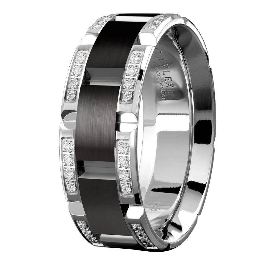 Cartier White Gold Mens Wedding Band White Gold Mens Wedding Bands Intended For Black And Gold Mens Wedding Bands (View 6 of 15)