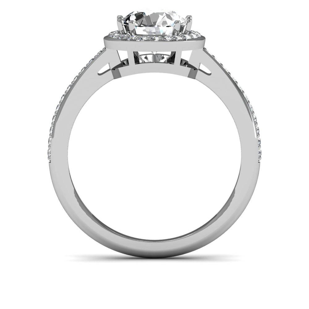 Cathedral Pave Flat Tab Halo Natural Diamonds Engagement Ring Within Flat Engagement Rings (View 7 of 15)