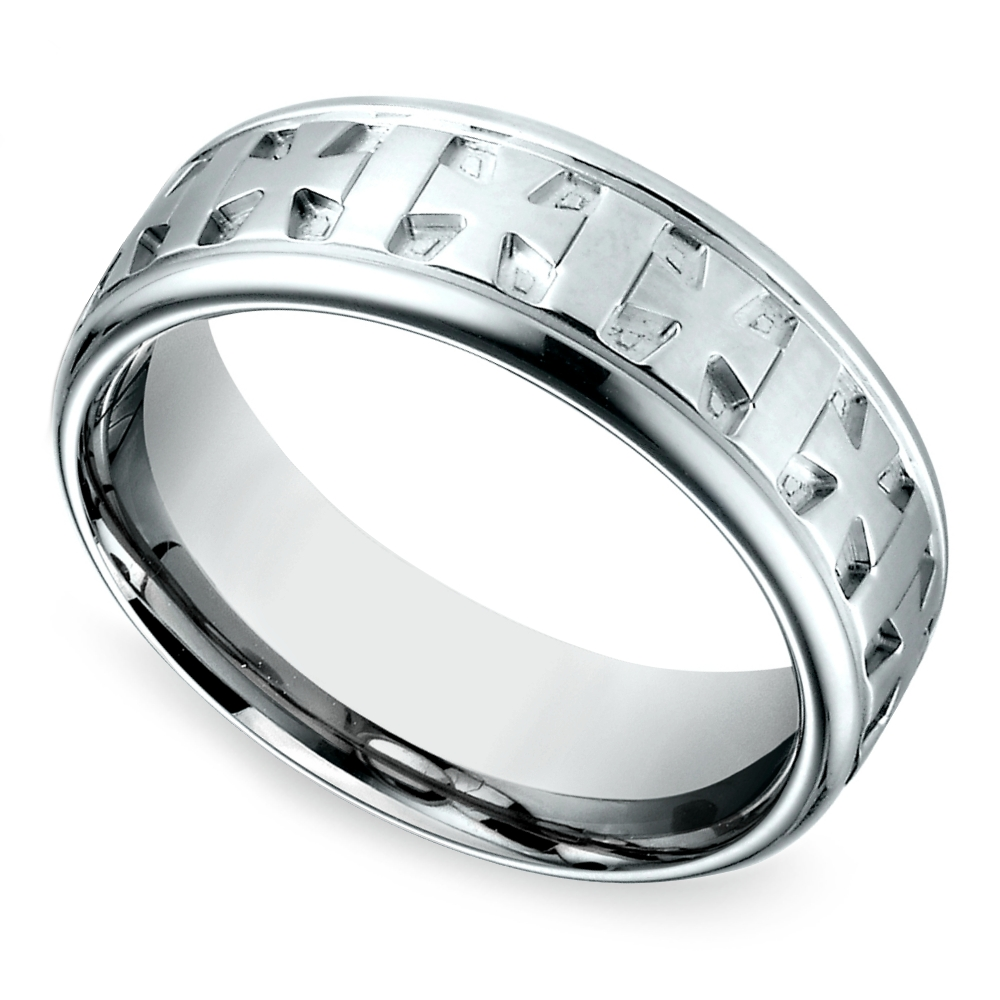 Celtic Cross Men's Wedding Ring In White Gold Inside Men's Wedding Bands With Cross (View 2 of 15)