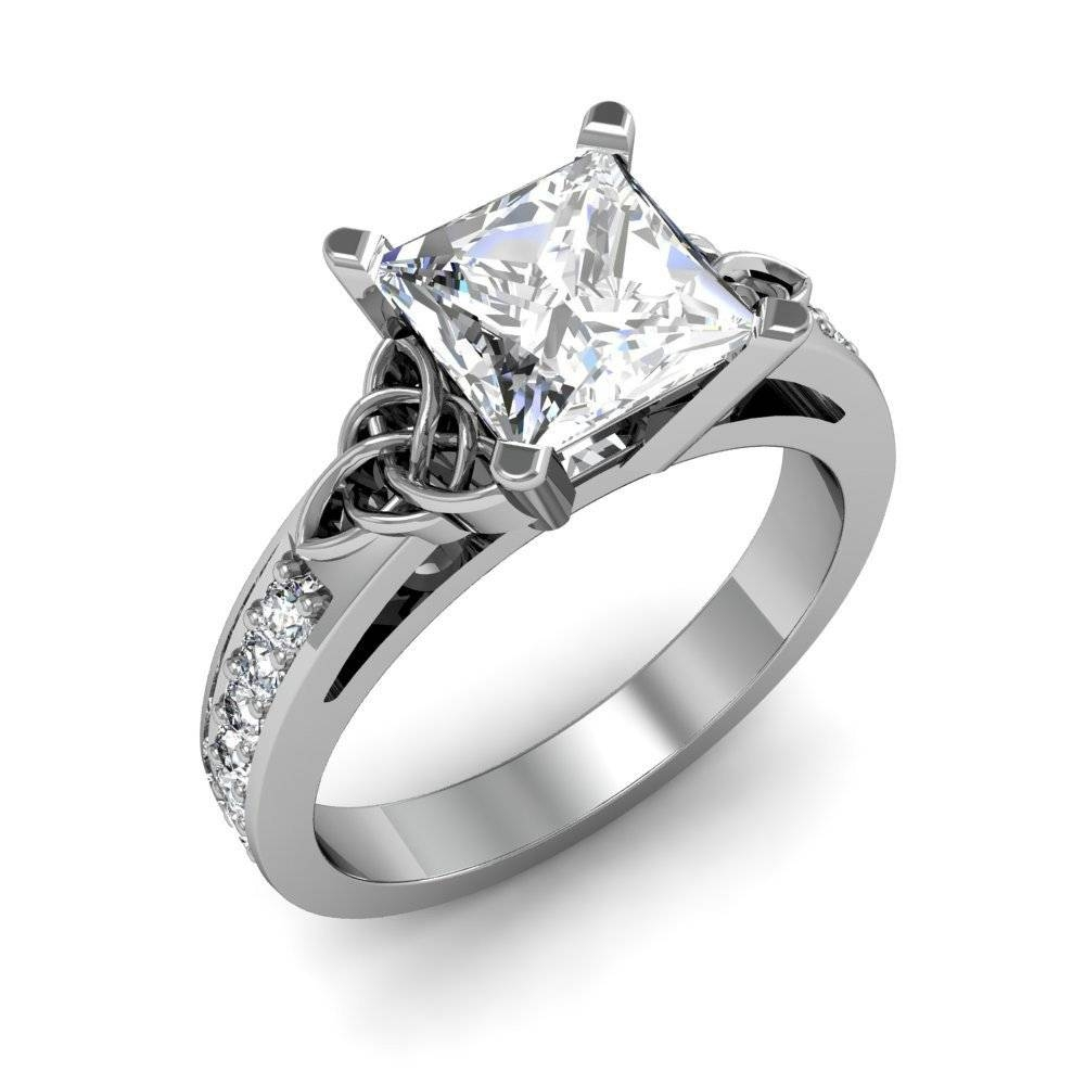 Celtic Knot Design Pave Natural Diamonds Engagement Ring Intended For Celtic Engagement Rings (View 10 of 15)