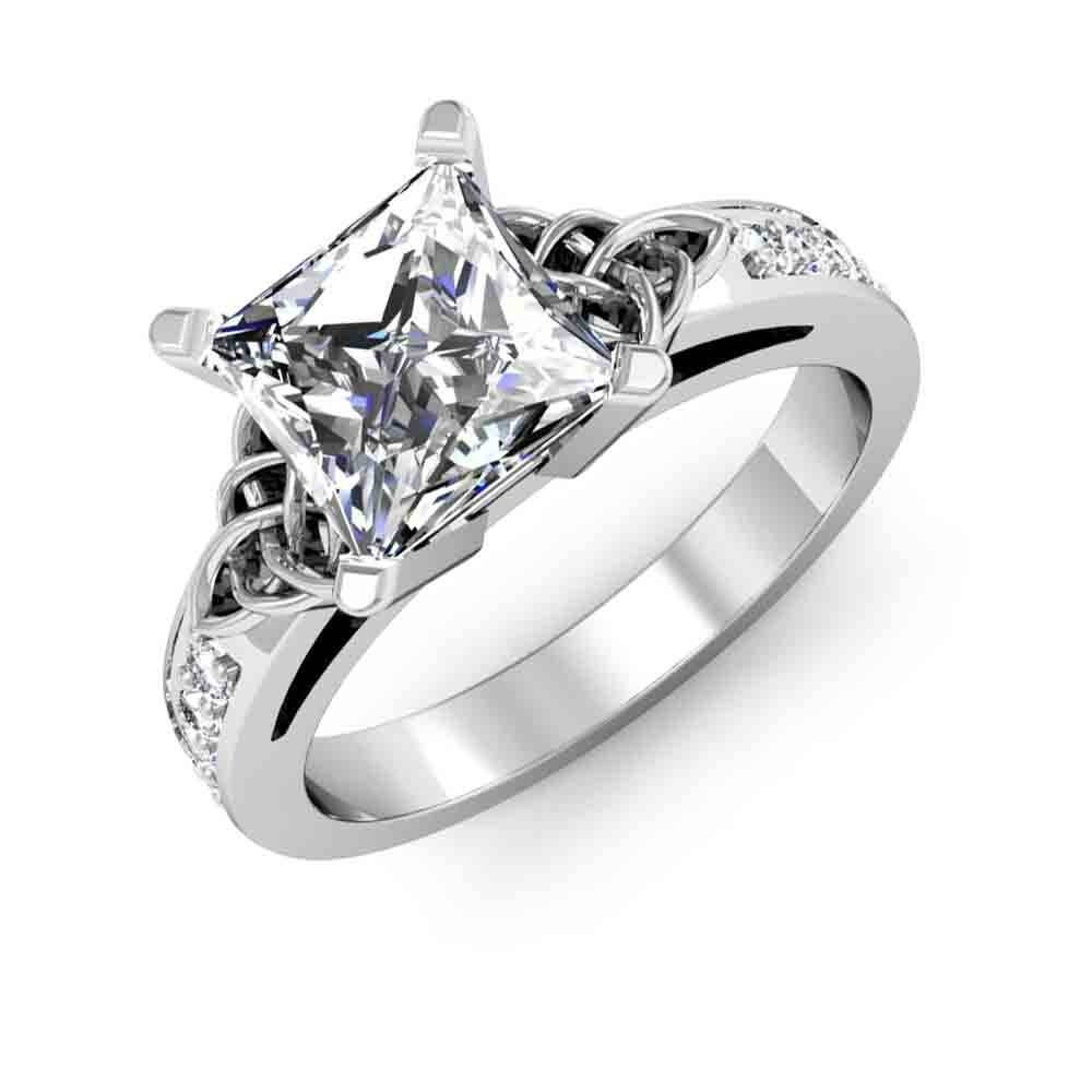 Celtic Knot Design Pave Natural Diamonds Engagement Ring With Engagement Rings Knot (View 8 of 15)