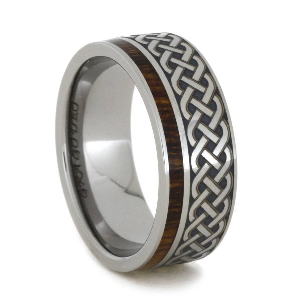Celtic Knot Ring, Mens Wood Wedding Band With Engraving, Titanium Ring Regarding Engravable Titanium Wedding Bands (View 1 of 15)