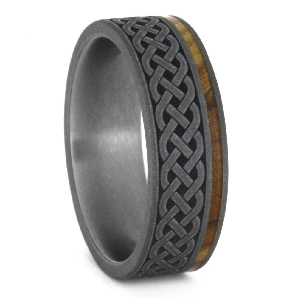 Celtic Knot Ring, Mens Wood Wedding Band With Engraving, Titanium Ring Regarding Men's Weddings Bands (View 5 of 15)