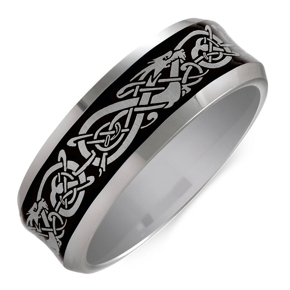 Celtic Ring In Grey Tungsten Throughout Michael Hill Mens Wedding Bands (View 1 of 15)