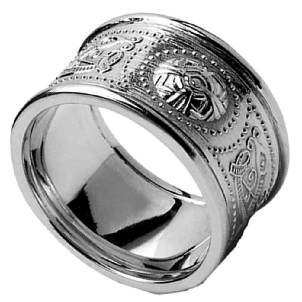 Celtic Ring – Men's White Gold Warrior Shield Wedding Band At Inside Mens Celtic Engagement Rings (View 15 of 15)