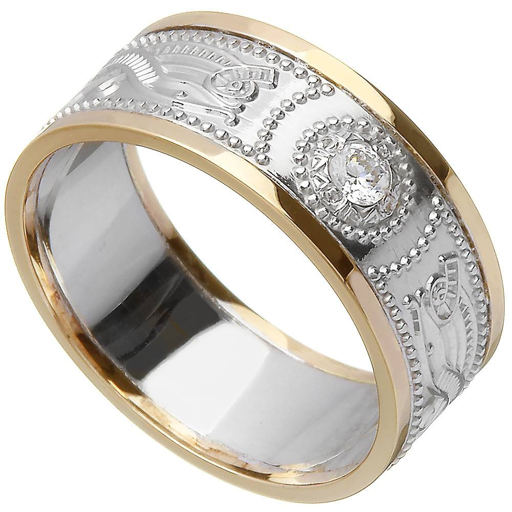 Celtic Ring – Men's White Gold With Yellow Gold Trim And Diamond For White Gold And Yellow Gold Wedding Rings (View 5 of 15)