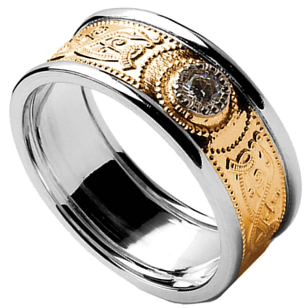 Celtic Ring U2013 Menu0027s Yellow Gold With White Gold Trim And Diamond For Mens  Celtic Wedding