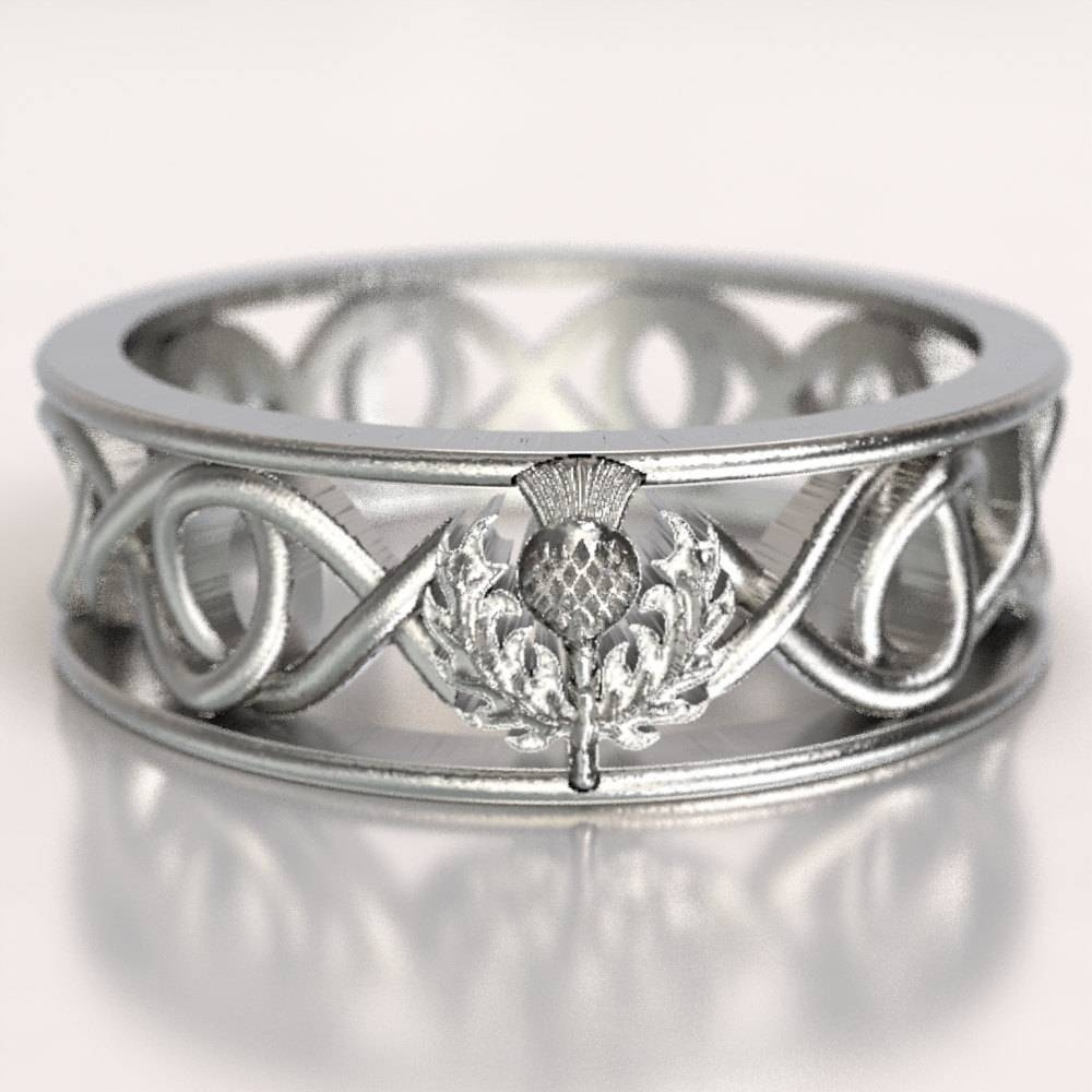 Celtic Scottish Thistle Ring Infinity Ring Scottish Thistle Inside Scottish Wedding Bands (Gallery 12 of 15)