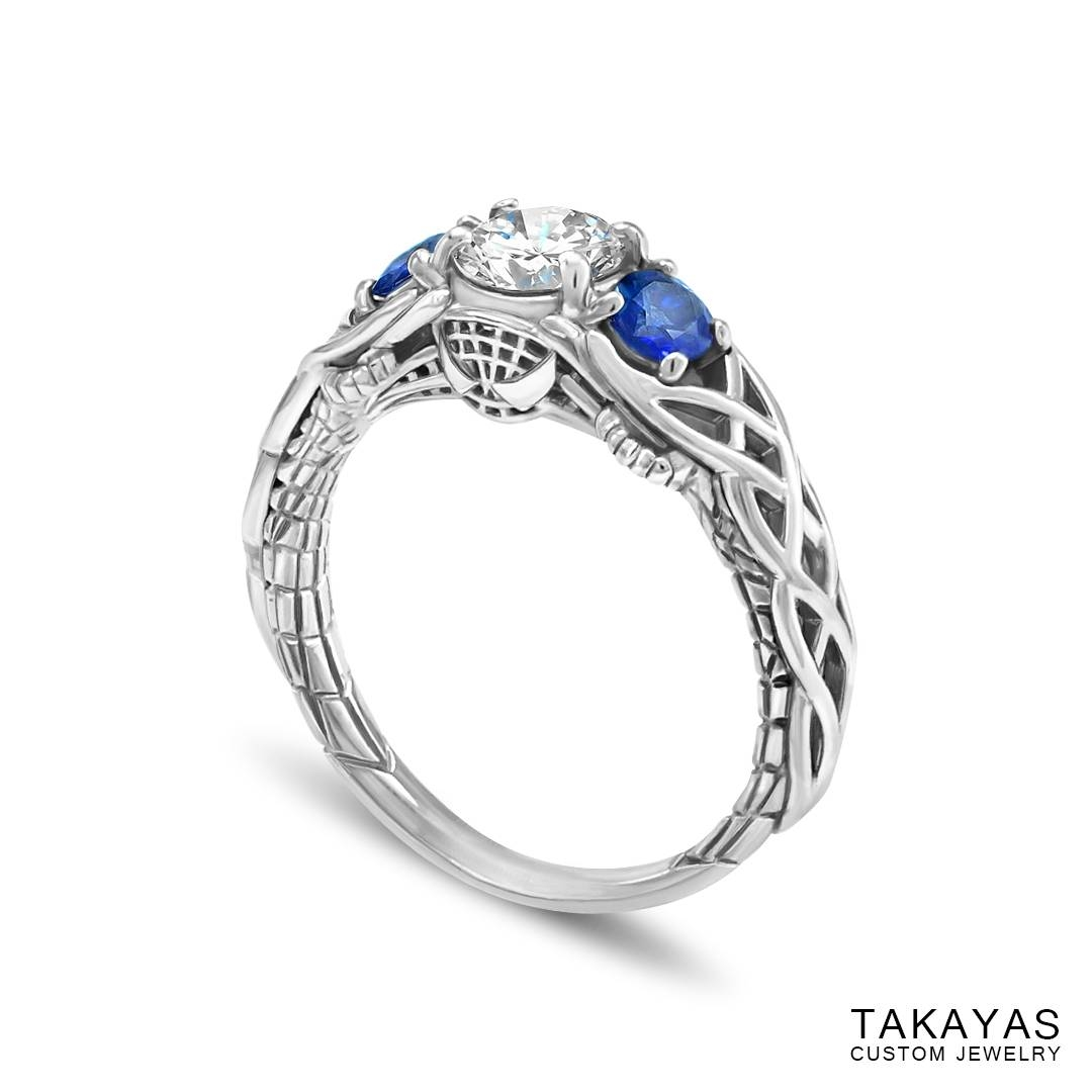 Celtic Spider Man Inspired Engagement Ring — Takayas Custom Jewelry With Regard To Sapphire Celtic Engagement Rings (View 9 of 15)