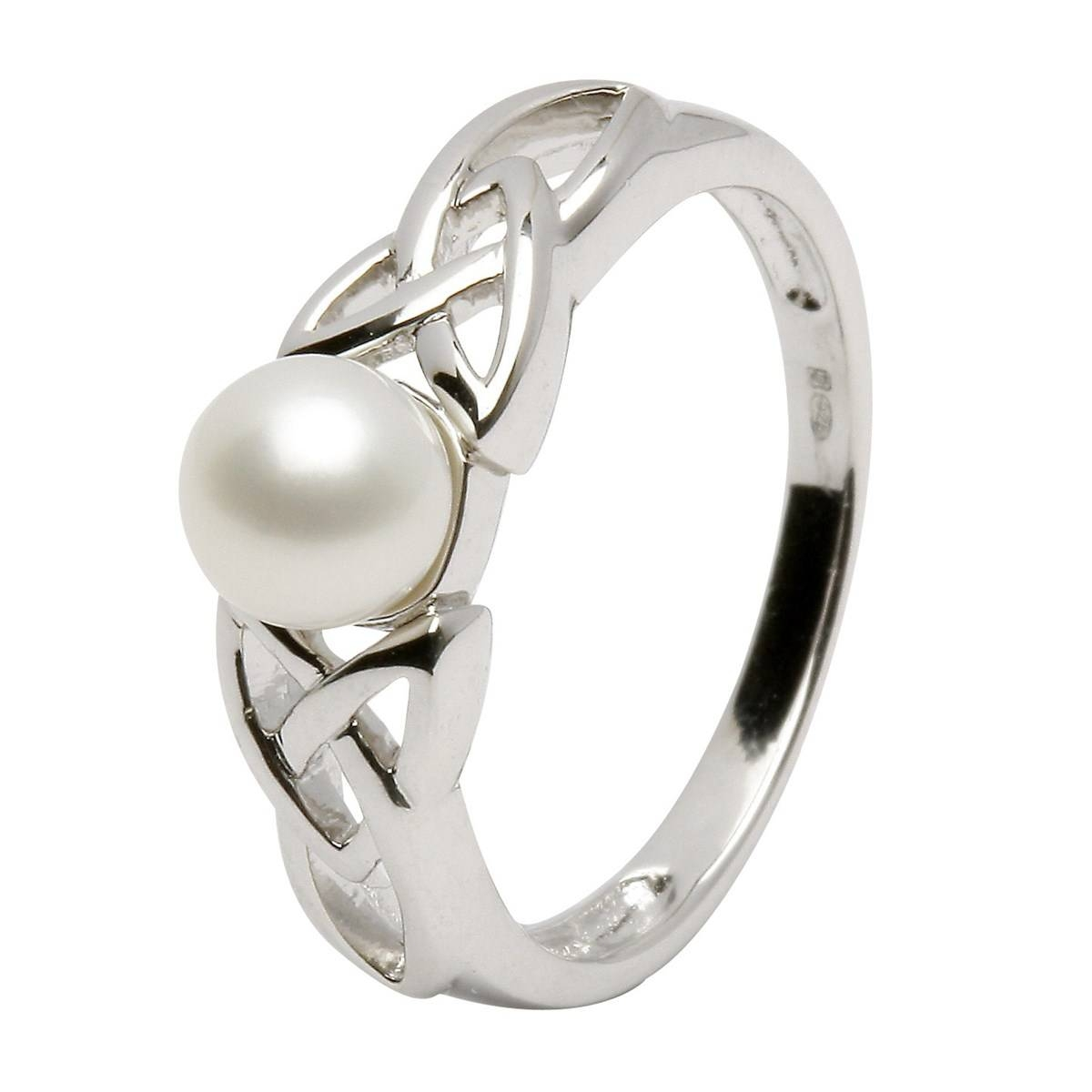 Celtic Trinity Knot Pearl Ring – Celtic Rings – Rings From Ireland Regarding Celtic Trinity Engagement Rings (View 4 of 15)