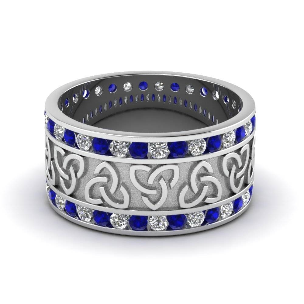 Celtic Wedding Bands White Diamond With Blue Sapphire In 14K White Within Mens Blue Sapphire Wedding Bands (View 4 of 15)