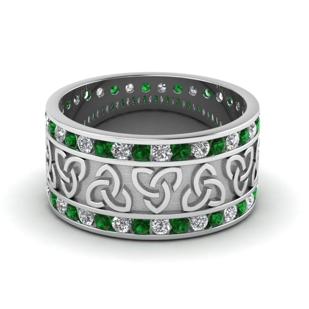 Celtic Wedding Bands White Diamond With Green Emerald In 950 Throughout Men's Wedding Bands Emerald (View 6 of 15)
