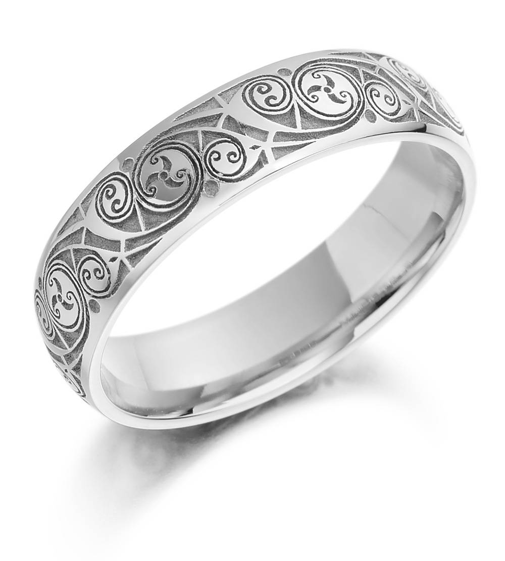 Celtic Wedding Ring – Ladies Gold Celtic Spiral Triskel Irish Throughout Irish Mens Wedding Bands (View 1 of 15)