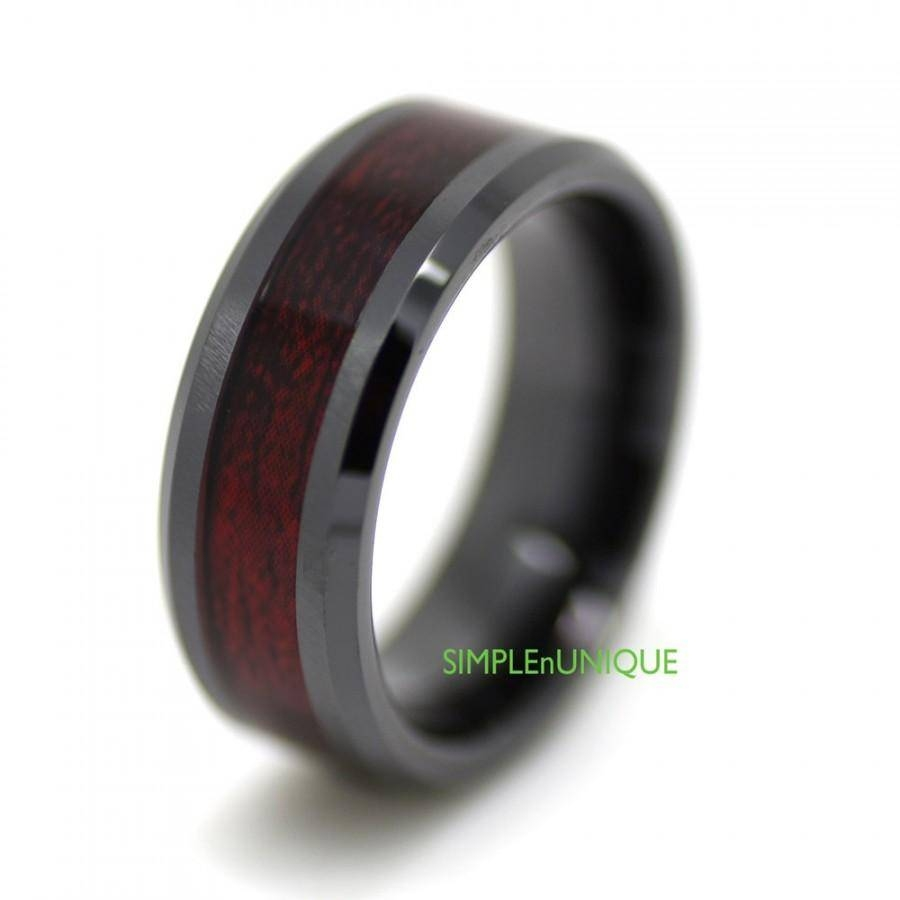 Ceramic Ring, Mens Wedding Band, Mens Ring, Promise Rings For Men Throughout Wood Inlay Men's Wedding Bands (View 15 of 15)