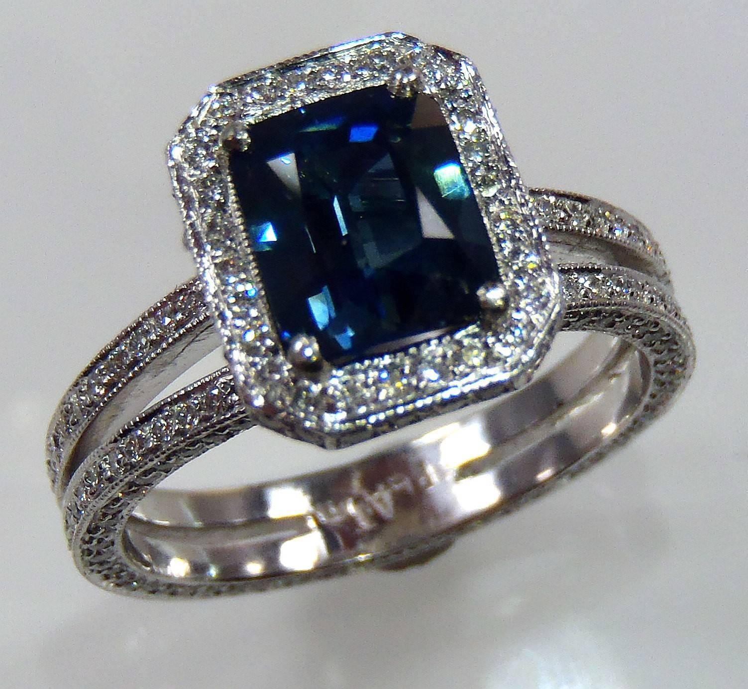 Ceylon Sapphire Engagement Ring, Aigs Certified Platinum 3.06 Tcw Intended For Emerald Sapphire Engagement Rings (Gallery 13 of 15)