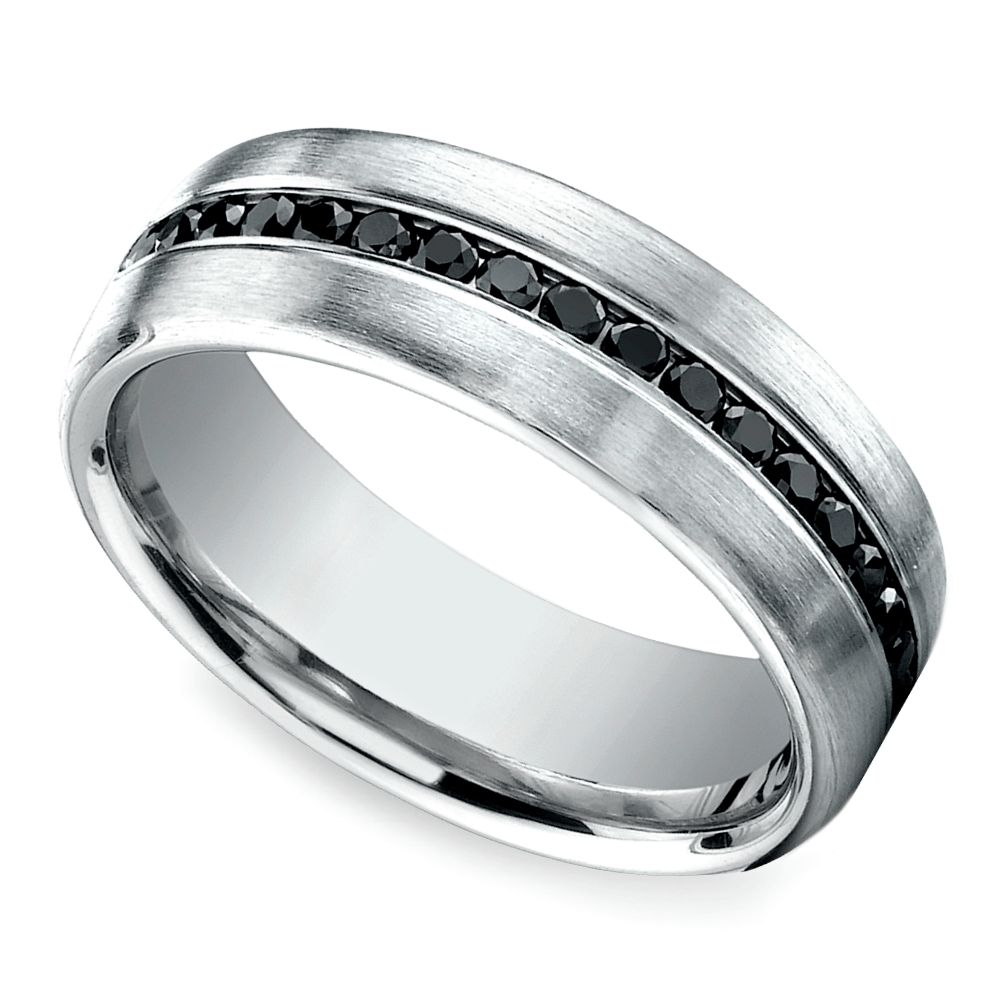 Channel Black Diamond Men's Wedding Ring In Platinum Regarding Inset Engagement Rings (View 6 of 15)