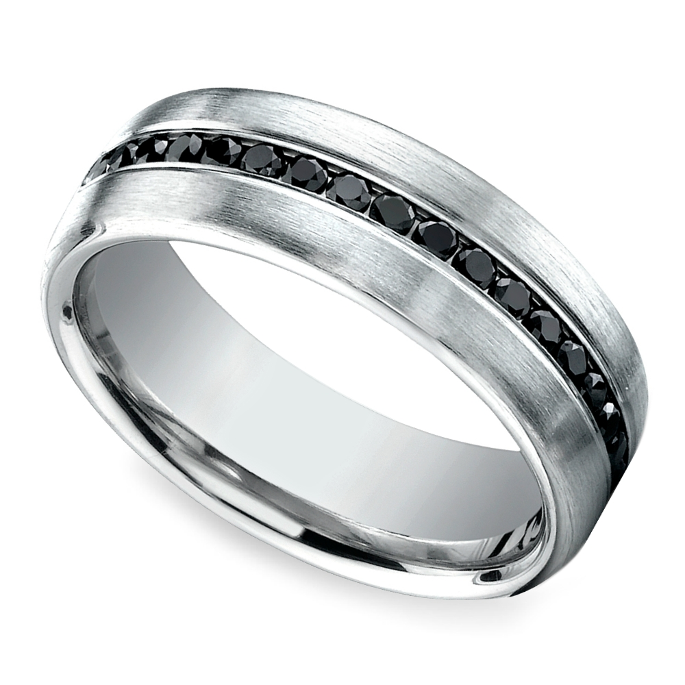 Channel Black Diamond Men's Wedding Ring In White Gold Within Black And White Gold Men's Wedding Bands (View 5 of 15)