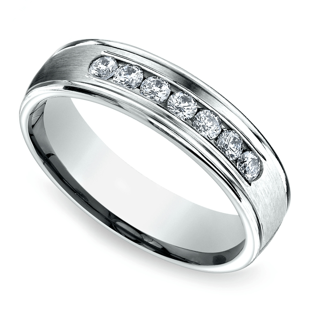 Channel Diamond Men's Wedding Ring In White Gold (6Mm) Within White Gold Wedding Rings With Diamonds (View 11 of 15)