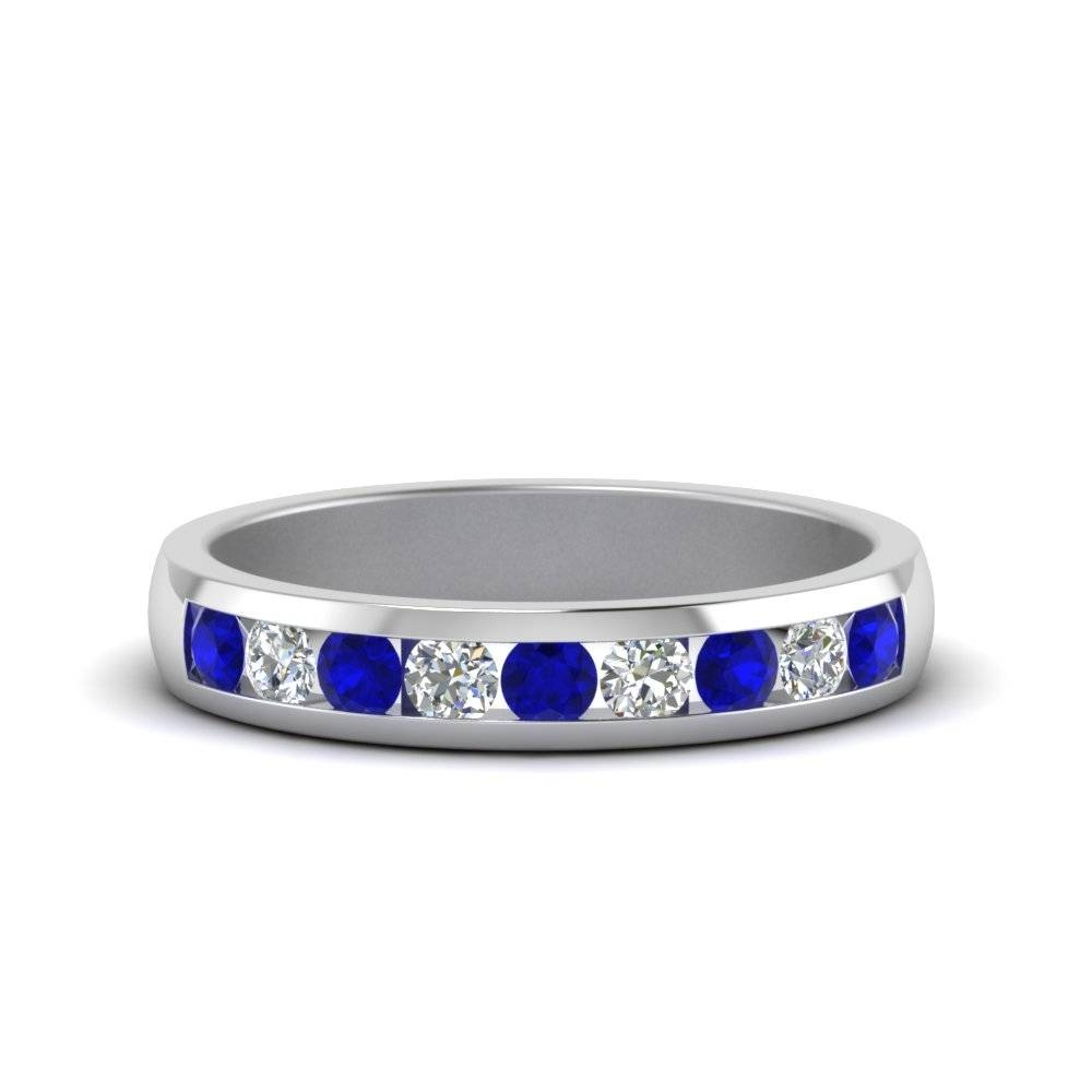 Channel Round Diamond Wedding Band With Blue Sapphire In 14k White Regarding Men's Wedding Bands With Blue Sapphire (View 10 of 15)