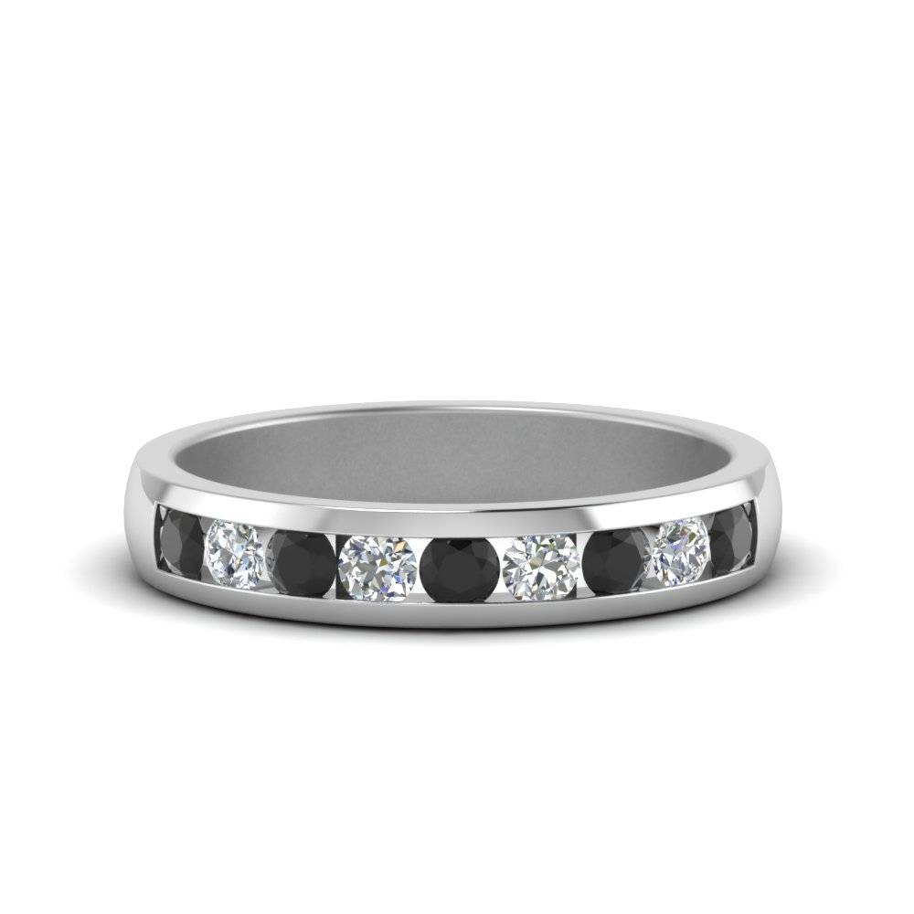 Channel Round Wedding Band With Black Diamond In 14K White Gold With Men's Wedding Bands With Black Diamonds (View 2 of 15)