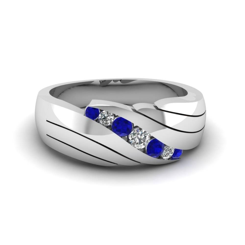 Channel Set Blue Sapphire Mens Wedding Ring In 14K White Gold For Men's Blue Sapphire Wedding Bands (View 3 of 15)