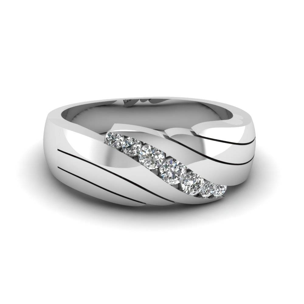 Channel Set Diamond Mens Wedding Ring In 14K White Gold For Mens Engagement And Wedding Rings Sets (View 5 of 15)