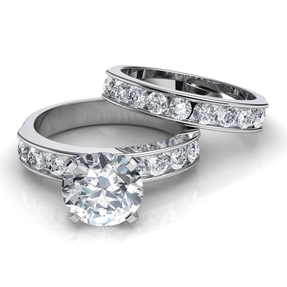 Channel Set Engagement Ring & Matching Wedding Band Bridal Set Intended For Wedding Bands And Engagement Ring Sets (View 6 of 15)